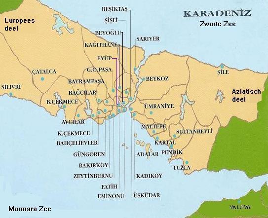 istanbul kaart Landkaart, plattegrond Istanbul met wijken,staddelen