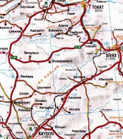 sivas kayseri haritası ile ilgili görsel sonucu